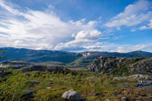 桌面壁纸,,挪威,山,公园,石,云,Rago National Park,