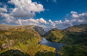 Wallpapers Norway Mountain Sky Cliff Clouds Hardangerfjord Nature