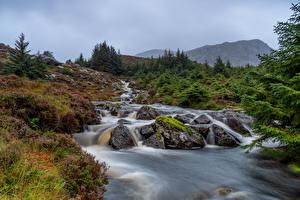 Hintergrundbilder Norwegen Berg Steine Bach Stadlandet