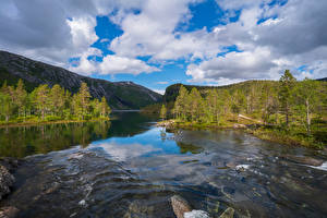 Images Norway Park Rivers Mountain Clouds Trees Rago National Park Nature
