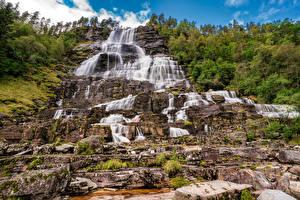 Images Norway Waterfalls Stones Cliff Tvindefossen Nature