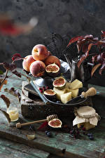 Images Peaches Cheese Ficus carica Blueberries Still-life Boards Jar Food
