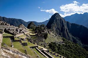 Bakgrundsbilder på skrivbordet Peru Berg Ruinerna Machu Picchu Natur