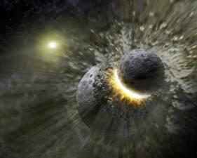 Papel de Parede Desktop Planetas Desastres Golpear Espaço