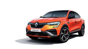 Bakgrundsbilder på skrivbordet Renault CUV Metallisk Vit bakgrund Orange Arkana R.S. Line, 2020 bil
