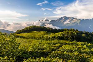 Fonds d'écran Russie Montagnes Nuage Colline Krasnodar Krai, Mount Chugush