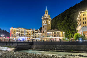 Photo Russia Sochi Evening Clock Towers Rosa Khutor Cities