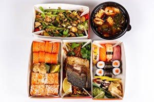 Pictures Seafoods Fish - Food Sushi Vegetables Gray background Box