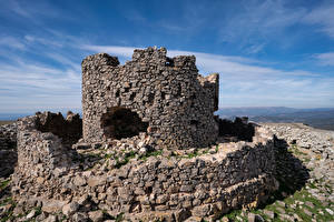 Bakgrundsbilder på skrivbordet Spanien Borg Ruinerna Gjord av sten Castell de la Mola Natur