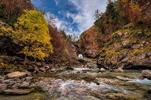 Pictures Spain Park Autumn Mountain Stone River Trees Monte Perdido National Park Nature