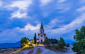 Fotos & Bilder Spanien Tempel Kirche Abend Hügel Santuari Puig Agut in Manlleu Städte