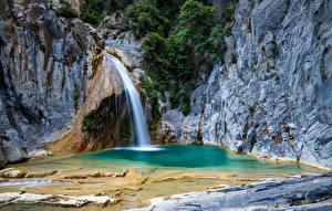 Image Spain Waterfalls Rock