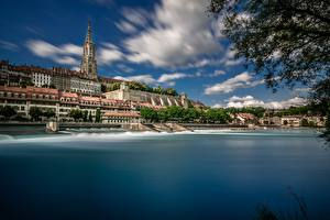 Image Switzerland Building Coast Cathedral Aare River, Bern Minster Cities