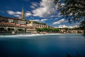 Papel de Parede Desktop Suíça Edifício Costa Catedral Aare River, Bern Minster