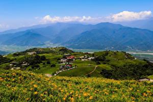 Bilder Taiwan Haus Acker Grünland Hügel Hualien