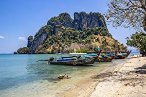 Images Thailand Island Boats Coast Three 3 Phuket Nature