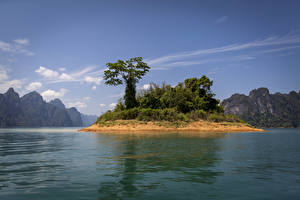 Pictures Thailand Parks Lake Island Mountain Trees Cheow Lan Lake Khao Sok National Park Nature