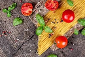 Image Tomatoes Black pepper Wood planks Pasta Basil Food