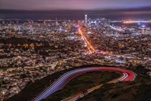 Desktop wallpapers USA Megalopolis San Francisco Night From above Cities