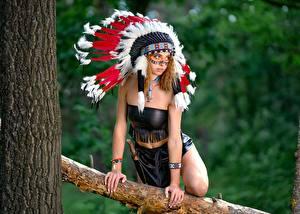 Hintergrundbilder Warbonnet Indianer Posiert Hand Vyacheslav Tsurkan, Evgeniya Nemirova Mädchens