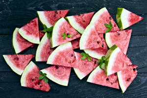 Pictures Watermelons Many Boards Pieces Food