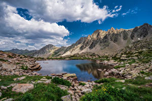 Wallpaper Andorra Mountains Stones Lake Scenery Clouds Lakes Pessons