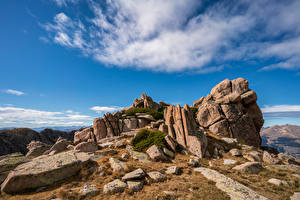 Wallpapers Andorra Mountains Stones Sky Cliff Pyrenees