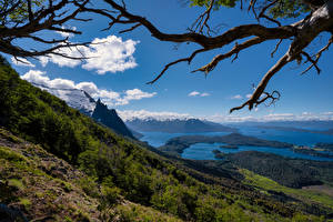 Images Argentina Mountains Lake Sky Scenery Branches Bariloche, Patagonia