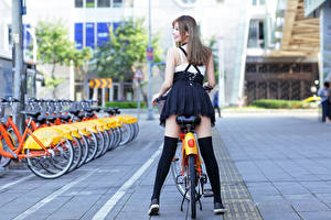 Pictures Asian Bicycle Legs Back view Dark Blonde Girls