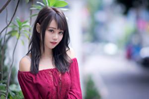 Fotos Asiaten Bluse Blick Unscharfer Hintergrund Brünette junge Frauen