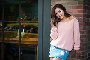 Pictures Asian Bokeh Brown haired Glance Sweater Hands female