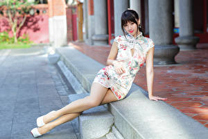 Pictures Asiatic Brunette girl Sit Frock Legs Staring young woman