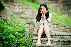 Pictures Asian Brunette girl Stairs Sitting Legs young woman