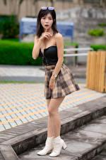 Picture Asian Gesture Brunette girl Posing Skirt
