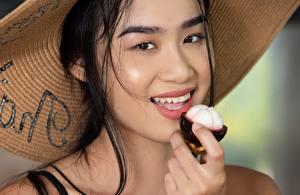 壁紙,亚洲人,模特兒,黑发,凝视,微笑,帽子,Kahlisa, Taika,女孩,