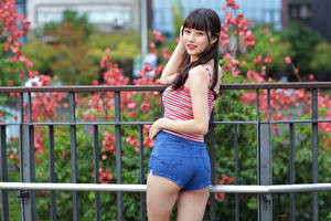 Photo Asian Pose Shorts Sleeveless shirt Staring Fence Girls