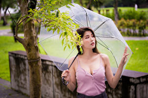 Wallpaper Asian Singlet Neckline Umbrella Staring Girls