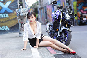 Picture Asiatic Sitting Legs Skirt Blouse Decollete Glance Girls