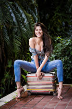 Image Asiatic Sit Suitcase Jeans Blouse Décolletage Smile Staring Pose Beautiful young woman
