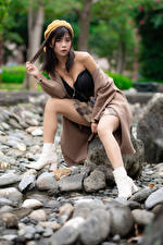 Picture Asiatic Stones Sitting Legs Beret Bokeh Girls