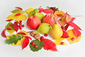 Photo Autumn Apples Pears Berry Gray background Foliage Food