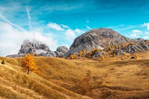 Hintergrundbilder Herbst Berg Italien South Tyrol, Dolomite Alps Natur