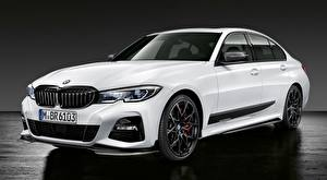 デスクトップの壁紙、、BMW、白、Limousine, 3 Series, M Performance Parts, 2019、