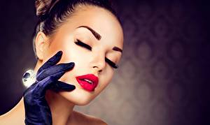 Pictures Diamond cut Face Red lips Makeup Hands Glove Girls