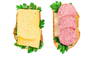 Wallpapers Butterbrot Bread Cheese Sausage White background Two Food