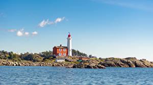 Wallpaper Canada Coast Stone Lighthouses Sky Fisgard Lighthouse