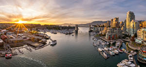 Photo Canada Morning Houses Marinas Boats Yacht Panorama Vancouver From above Cities
