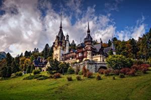 デスクトップの壁紙、、城、ルーマニア、Peles Castle, Sinaia、自然