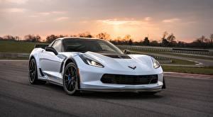 Desktop wallpapers Chevrolet White Corvette Z06, Carbon, 65 Edition, 2017 Cars