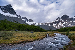 Pictures Chile Mountain River Clouds Cerro Castillo Nature